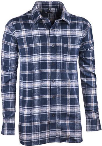 744a77bc036f Modrá flanelová košeľa s dlhým rukávom rovná Friends and Rebels 30817