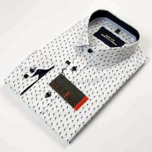 0db3d2045d4f Nadmerná biela pánska košeľa dlhý rukáv rovný strih Native 120505 ...