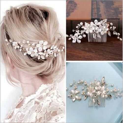B-TOP Svatební hřeben do vlasů KVĚT - bílá stříbrná - Glami.sk de411fde5b