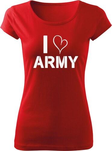 89fb9fccb176 O T dámske krátke tričko i love army