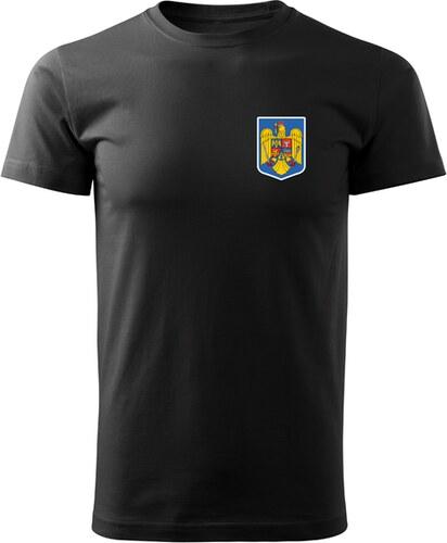 f5c9ffb7b2d43 O&T krátke tričko malý farebný rumunský znak, čierna 160g/m2 - Glami.sk