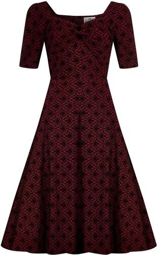 83990be66d0 COLLECTIF Dámské retro šaty Dolores Brocade vínové - Glami.cz