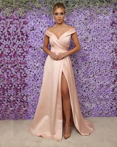 Marizu fashion krásné pudrové saténové maturitní b29286c9e8d
