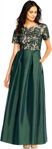 81b82cbe929 Adrianna Papell společenské dlouhé šaty s taffeta sukní a vyšívaným topem  smaragdově zelené