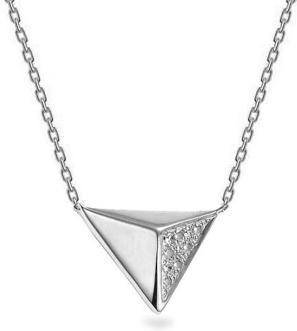 a541d0088 iZlato Forever Náhrdelník z bieleho zlata s diamantmi 0.010 ct trojuholník  IZBR527A