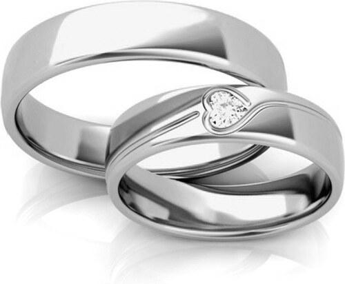 c423b86e6 -7% iZlato Forever Romantické svadobné obrúčky z bieleho zlata šírka 5 mm  STOB295A