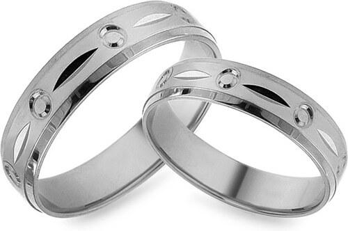 dc9dce052 iZlato Forever Zásnubné prstene z bieleho zlata s gravírom, šírka 5 mm  IZOB476A