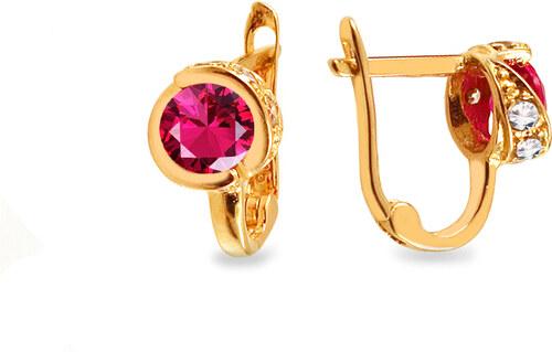 a1b445ab8 -15% iZlato Forever Zlaté dievčenské náušnice s ružovými kamienkami IZ12969