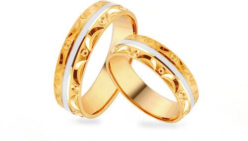 d669cdd44 iZlato Design Zlaté dvojfarebné svadobné obrúčky so vzorom, šírka 5 mm  IZOB449YW