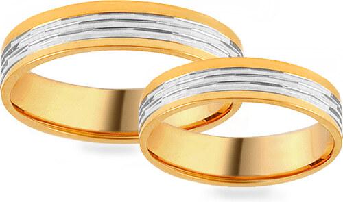 d6c59f947 -50% iZlato Forever Zlaté svadobné kombinované obrúčky so štruktúrovaným  vzorom, šírka 4 mm IZOB431YW