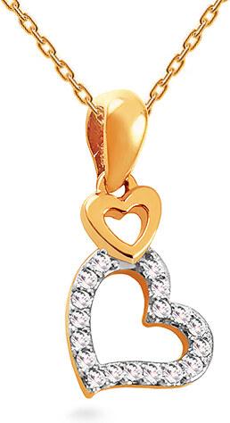 06dd0ac07 iZlato Forever Zlatý diamantový prívesok 0.050 ct Srdiečka KU999 ...