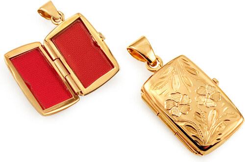 iZlato Forever Zlatý medailon na fotku s gravírovaným květinovým vzorem  IZ11478 e9687b46b70