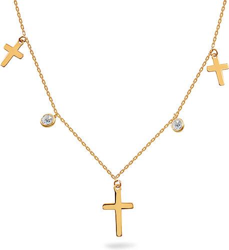 0ecc83e87 iZlato Forever Zlatý náhrdelník Choker s křížky a zirkony IZ12106L ...