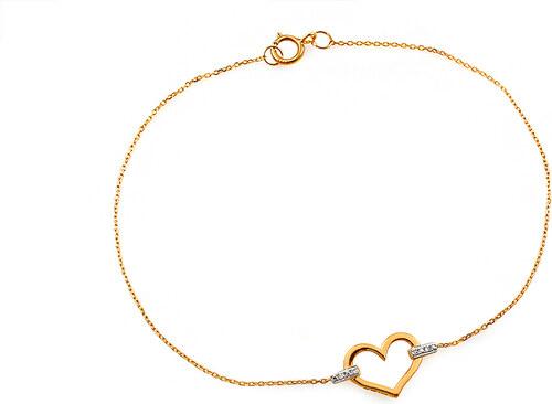 489272fd5 iZlato Forever Zlatý náramok s diamantmi 0.010 ct srdiečko IZBR525 ...