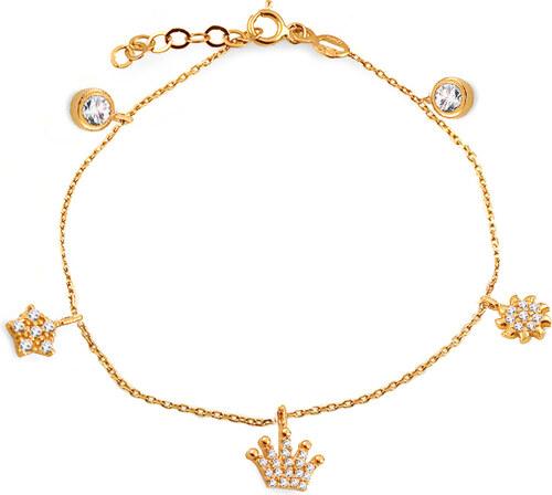 3551e5820 -12% iZlato Forever Zlatý náramok s príveskami a zirkónmi Balasia 6 IZ13830G