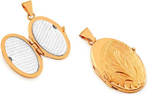 iZlato Forever Zlatý oválný medailon na fotku s květinovým gravírováním  IZ16961 bdf081f0379