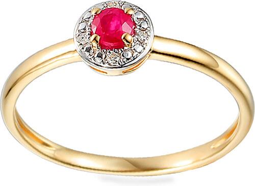 iZlato Design Zlatý prsteň s rubínom a diamantmi 0.010 ct Armonda IZBR586R 6fb616d6fa8