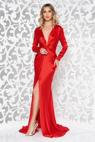 2882a756f8b6 Piros StarShinerS alkalmi ruha hosszú ujjak övvel ellátva - Glami.hu