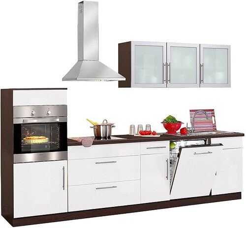 Küchenzeile »Aachen«, mit E-Geräten, Breite 300 cm