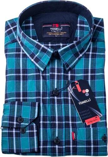 Modrá 100 % bavlna nadměrná košile Tonelli 110964 - Glami.cz 222decfb03