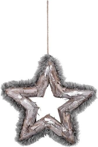 6220507e661 Závěsná vánoční dekorace ve tvaru hvězdy s kožíškem Ego dekor - Glami.cz