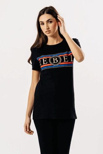 bb58e1a4dc84 Rouzit Dámske čierne tričko s krátkym rukávom a potlačou REBEL ...
