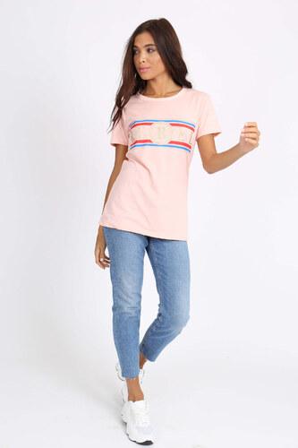 10fff78eea87 Rouzit Ružové dámske tričko s krátkym rukávom a potlačou REBEL ...
