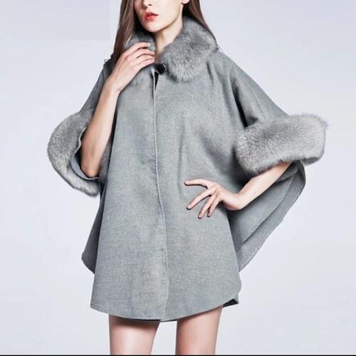 21336787e25 Perfect Elegantní podzimní vlněný plášť kabát kožich s kožíškem ...
