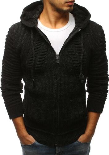 BASIC Pánský černý svetr se zipem (wx1231) - Glami.cz 808e553e86