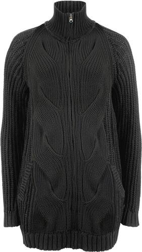 5b451558f378 Bonprix Pletený sveter s osmičkovým vzorom a zapínaním na zips ...
