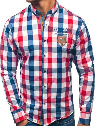 d915be3fc596 Červená pánska károvaná košeľa s dlhými rukávmi BOLF 1766-1 - Glami.sk