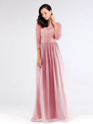 Ever Pretty Luxusní růžové šaty s krajkou 7680 - Glami.cz 7986db0d78
