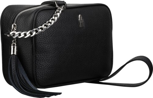 Malé čierne kožené kabelky crossbody na párty Wojewodzic 31762 ... 7b656164ead