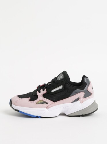 Ružovo–čierne dámske kožené tenisky adidas Originals Falcon - Glami.sk ab17a50c4df