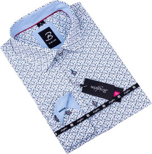 4760544b842 Bílá s modrým vzorem pánská košile slim fit Brighton 109908 - Glami.cz