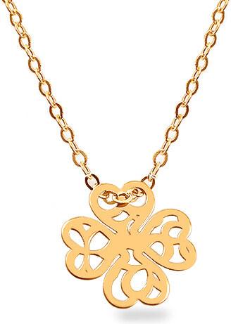 92aadf07c iZlato Forever Zlatý náhrdelník V.I.P. čtyřlístek s vyřezávaným vzorem  IZ13347