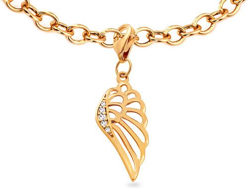 iZlato Forever Zlatý přívěsek na náramek se zirkony Andělské křídlo IZ14702 955077365b