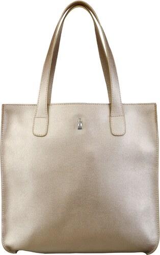 Veľká kožená kabelka nákupná taška Wojewodzic svetlá metalická zlatá 31731 D eaaced20546