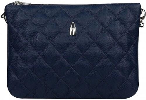 WOJEWODZIC Kvalitné stredné luxusné kožené kabelky crossbody do ruky modré  prešívané 311 34ff5fedc3a