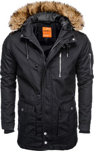 c0c77e352c Ombre Clothing Férfi parka kabát kapucnival Frost fekete S - Glami.hu