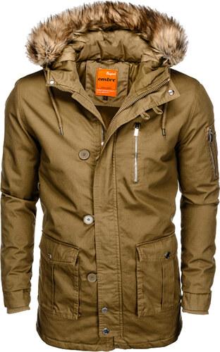 Ombre Clothing Férfi parka kabát kapucnival Frost olívazöld S - Glami.hu a977ca48c7