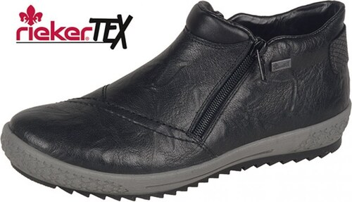 0aef9445f5e3 -20% Rieker Členková zateplená obuv na nízkom podpätku čiernej farby