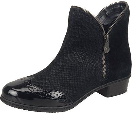 6b6f092f31201 Čierne členkové zateplené topánky Rieker - Glami.sk