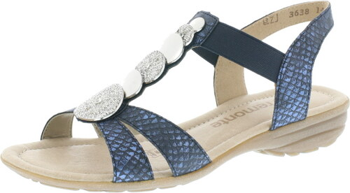 49567bbf5f Modré dámske otvorené sandále na nízkom podpätku Remonte-Rieker ...