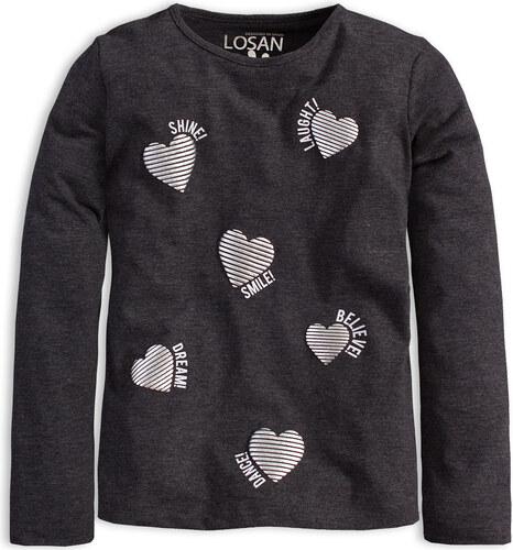 38f93358b9460 Dievčenské tričko s dlhým rukávom LOSAN SRDCE šedé - Glami.sk