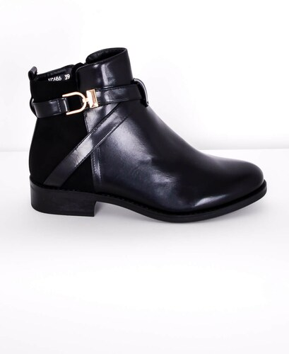 Nízké dámské boty s podpatkem a zlatou sponou - Glami.cz fc7df9b7c5
