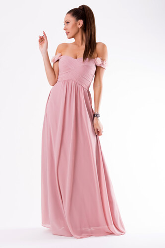 6a072292621 Dámské plesové šaty EVA   LOLA se spadlými rukávky dlouhé růžové ...