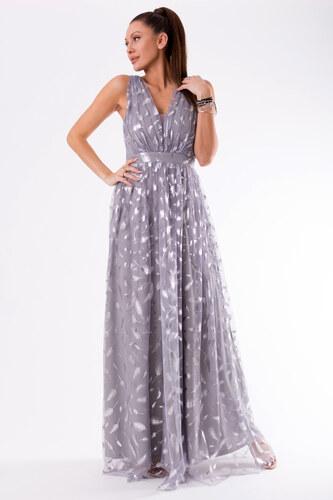 Dámské šaty EVA   LOLA bez rukávů s potiskem peříček dlouhé šedé ... e19b091140