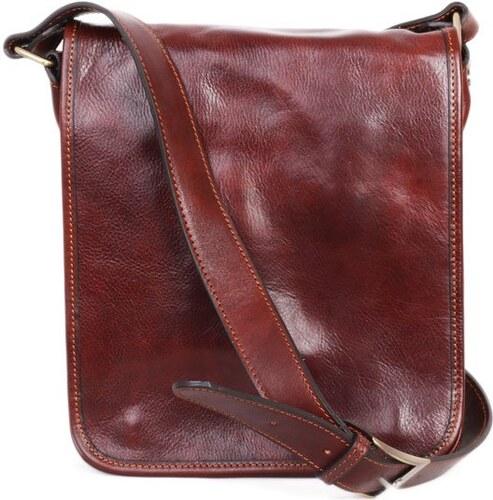 ITALSKÉ Luxusní crossbody pánské kožené tašky na rameno Ricardo koniak b5e251723b