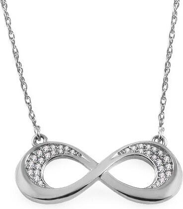 ef3f1fcb9 iZlato Forever Diamantový náhrdelník z bílého zlata 0,070 ct Infinity  KU1010A
